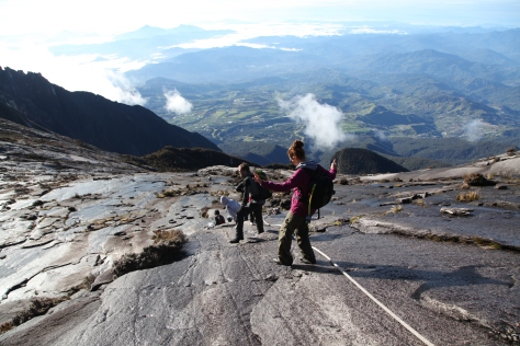 Descending from the summit of Mount Kinabalu to base camp