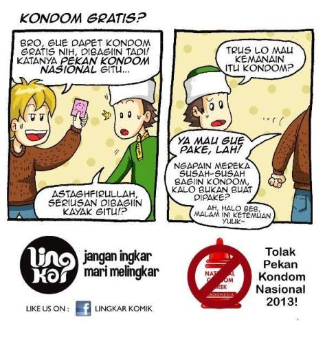 An anti condom programme poster by Umat Islam Indonesia Menolak Kampanye Kondomisasi (Muslims against a condom distribution programme)
