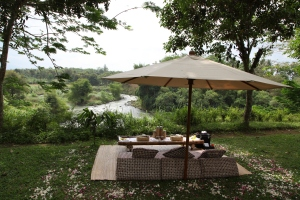 A romantic picnic organised by Aman Jiwo overlooking the Elo and Progo Rivers, Magelang