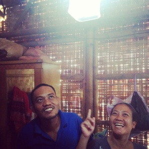 Villagers enjoying light from solar lamps
