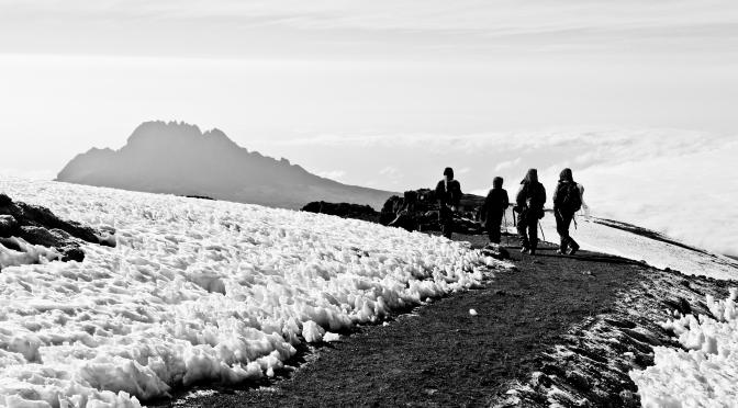 Descending from the summit of Kilimanjaro, Tanzania